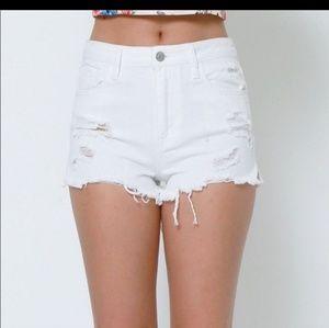 Flying Monkey white denim cut off shorts